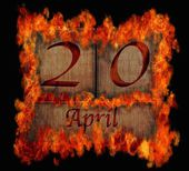 Burning wooden calendar April 20. — 图库照片