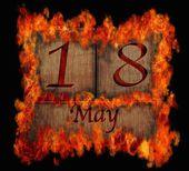 Burning wooden calendar May 18. — Stock Photo