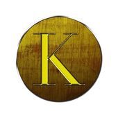 Letter K in wood and gold. — Stock Photo