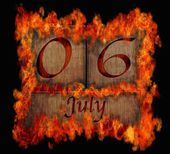 Burning wooden calendar July 6. — Stock Photo