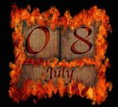 Burning wooden calendar July 8. — Stock Photo
