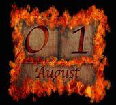 Burning wooden calendar August 1. — Stock Photo