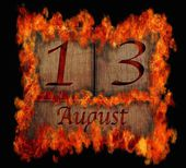 Burning wooden calendar August 13. — Stock Photo