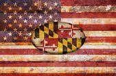 Dřevěná vlajka maryland. — Stock fotografie