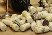 Wine Corks with Glass and Bottle — Stock Photo