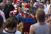 Asbury Park Zombie Walk 2013 - Clown in Crowd — Stock Photo