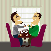Two male friends playing chess — Stock Vector