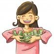 Cute Girl Holding Money — Stock Vector