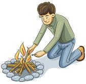 Man Lighting The fire — Stock Vector