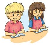 Niños estudiando — Vector de stock