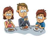 Family have Dinner — Stock Vector