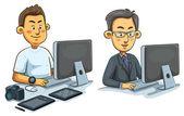 Men Working on Computer — Stock Vector