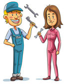 Mechanic, man and woman — Stockvector