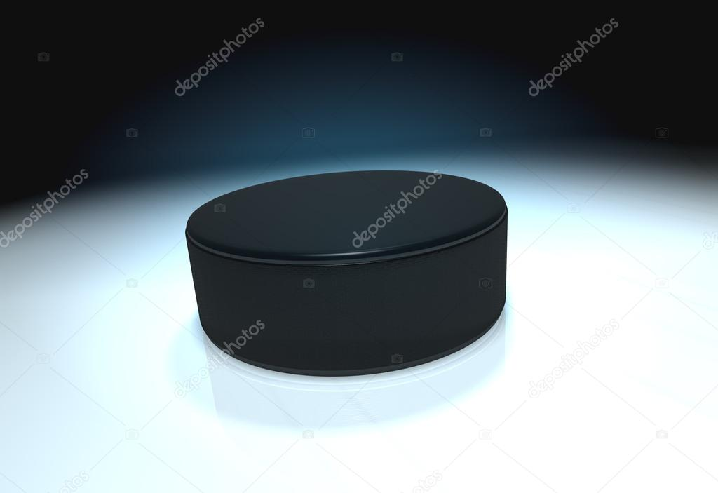 Ice hockey puck on ice with mirror — Stock Photo #13279700