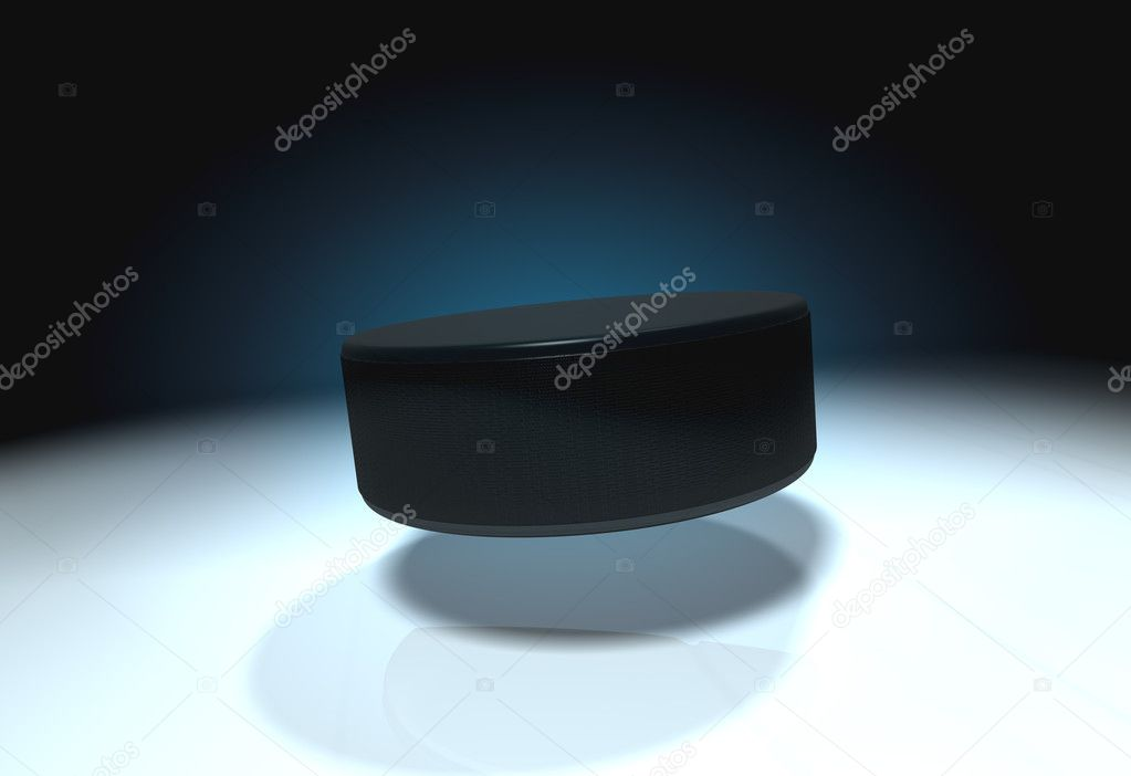 Flying ice hockey puck with cold ice — Stock Photo #13279965