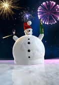 Funny snowman is celebrating — Stock Photo