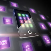 Mobile phone with icons — Stock Photo