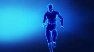 Running man in x-ray - focused on knee — Stock Video
