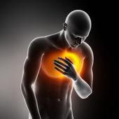 心脏病发作疼痛的胸部 — 图库照片