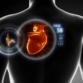 Man with heart beat pulse — Stock Photo