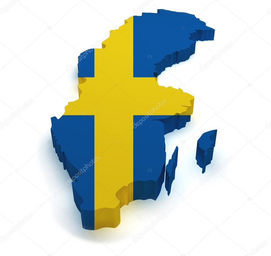 瑞典地图和国旗被隔绝在白色背景上的 3d 形状– 图库图片