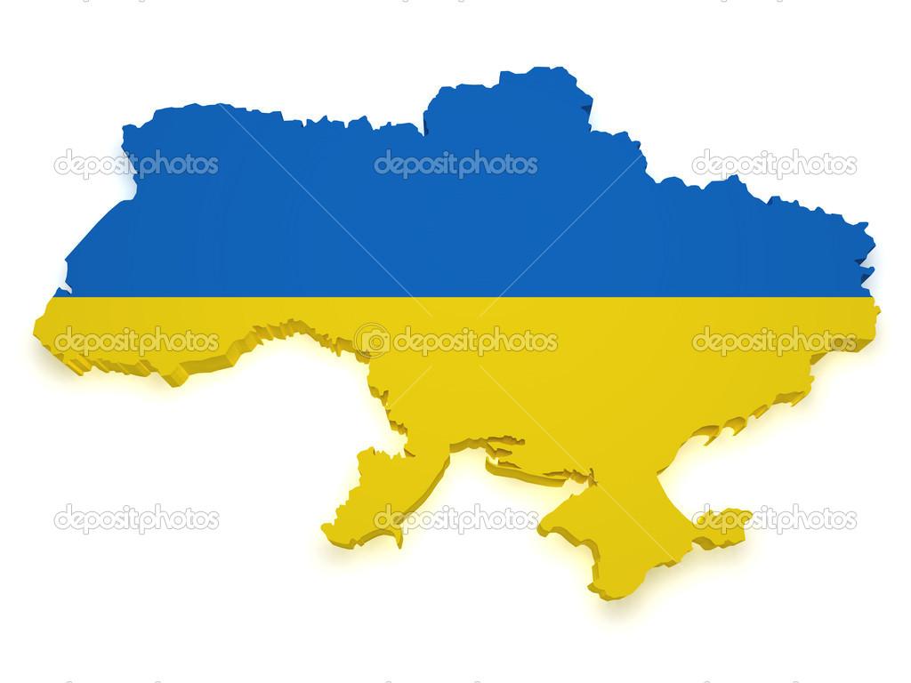 乌克兰地图 3d 形状
