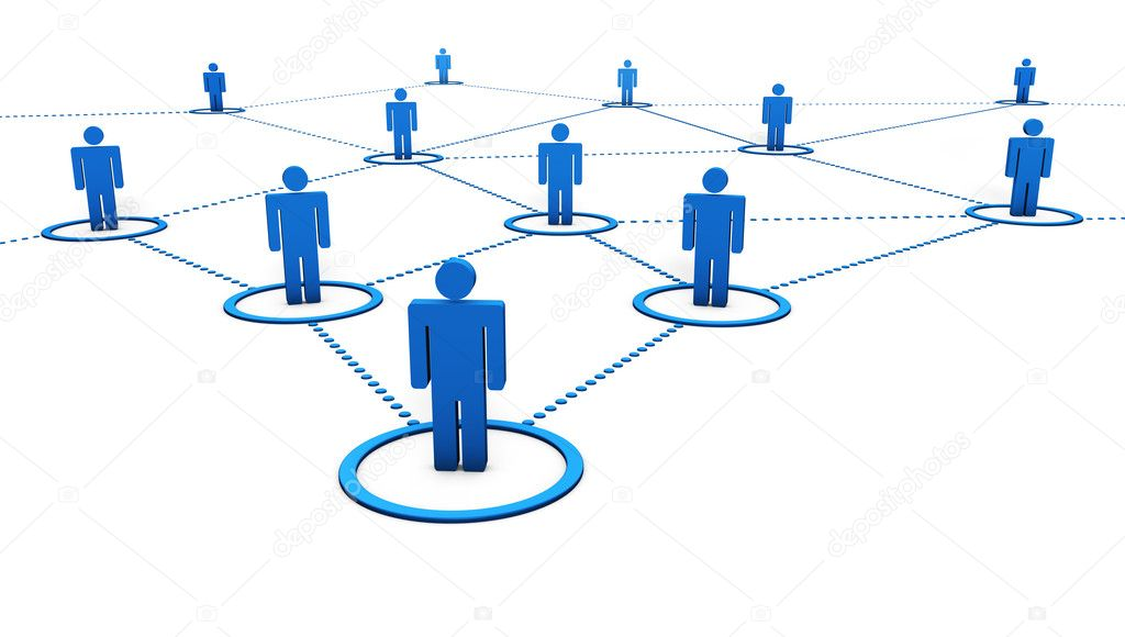 Social Network concept with connection of 3d by dotted blue lines on white background. — Stock Photo #14225939