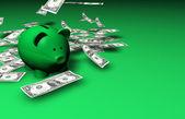 Piggy Bank Falling Money — Stock Photo