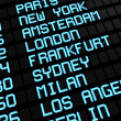 Stock Photo: Airport Board International Destinations