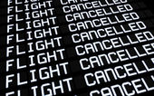 Airport Board Cancelled Flights — Stock Photo
