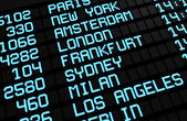 Airport Board International Destinations — Stock Photo