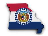 Missouri Flag Map Shape — Stock Photo