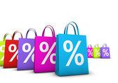 Alışveriş torbaları yüzde indirim — Stok fotoğraf