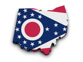 Ohio Flag Map Shape — Stock Photo