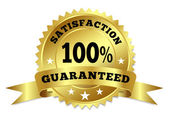 Gold Badge Satisfaction Guaranteed With Ribbon — Wektor stockowy