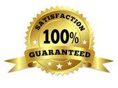 Gold Badge Satisfaction Guaranteed With Ribbon — Stock Vector