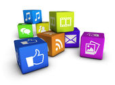 Website And Social Media Cubes — Stock Photo
