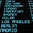 Airport Board Display International Destinations — Stock Photo