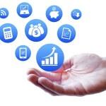 financiers et services web argent — Photo