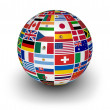 Globe International World Flags — Stock Photo