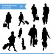 Vector de stock : Traveling People Silhouettes