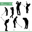 Golf Silhouettes Vector Set — Stock Vector #31356677