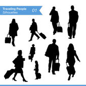 Traveling People Silhouettes — Stock Vector