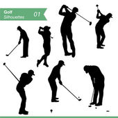 Golf Silhouettes Vector Set — Stock Vector