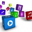 Music And Audio Web Icons Cubes Concept — Stock Photo