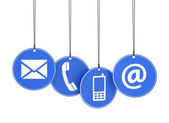 Web Contact Us Icons On Blue Tags — Stock Photo