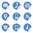 Web Contact Icons On Blue Labels — Image vectorielle