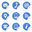 Web Contact Icons On Blue Labels — Imagen vectorial