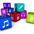 Music Web Icons On Colorful Cubes — Stockfoto #34334359