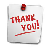 Thank You Sign On Post It — Stock Photo